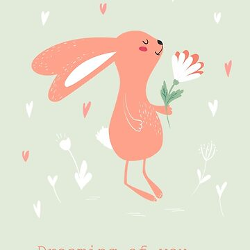 Bunny with flower card by Lidiebug