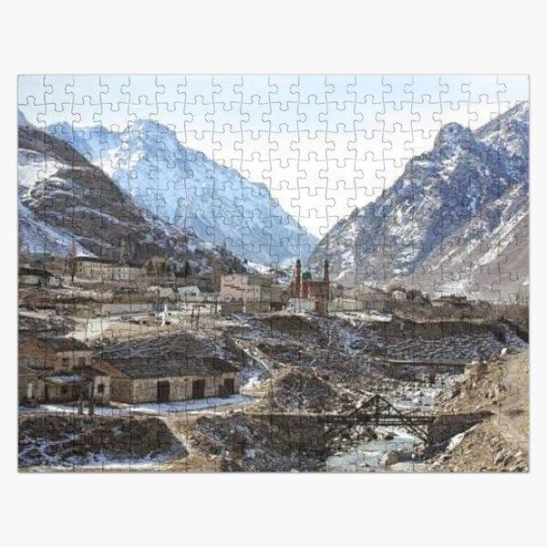 #Mountains, #road, #houses, #river, mountain village Tawlula  Karachay Balkar Jigsaw Puzzle
