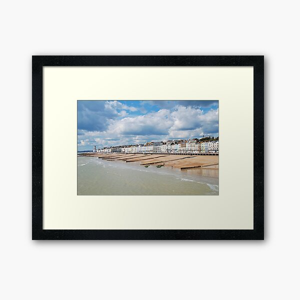Hastings seafront from the pier Framed Art Print