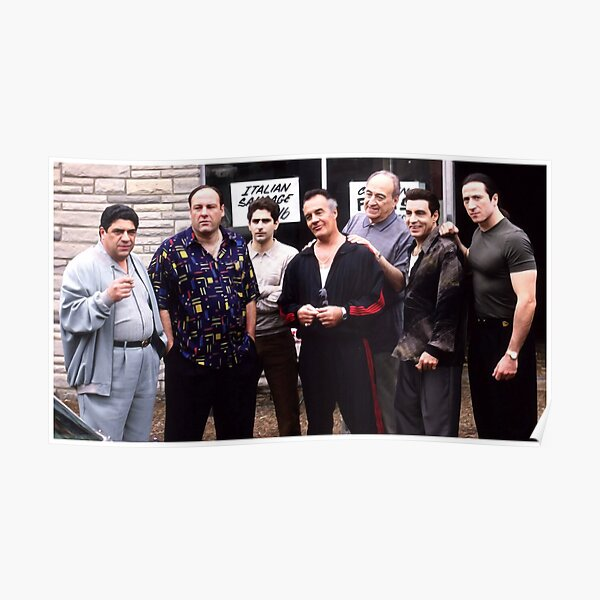 The Sopranos Satriale's Group Picture - Brush Strokes Poster