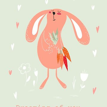 Bunny with carrots card by Lidiebug