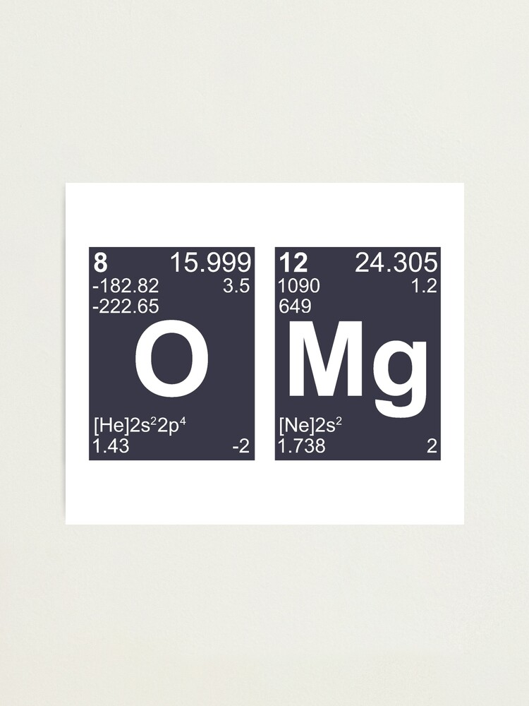 Alternate view of OMG Oh My God Periodic Table Elements Photographic Print