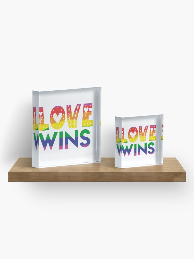 Alternate view of Love Wins Cutesy Doodle  Acrylic Block