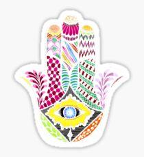 Artistic Hand Drawn Hamsa Hand an Floral Drawings Sticker