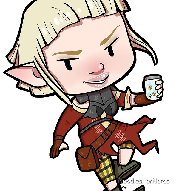 Dragon Age -- Sera Chibi with Jar of Bees by NoodlesForNerds