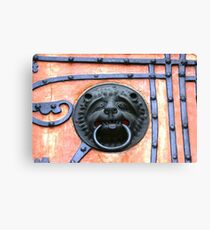 Middle Ages door handle, gate in Germany Canvas Print
