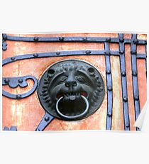 Middle Ages door handle, gate in Germany Poster
