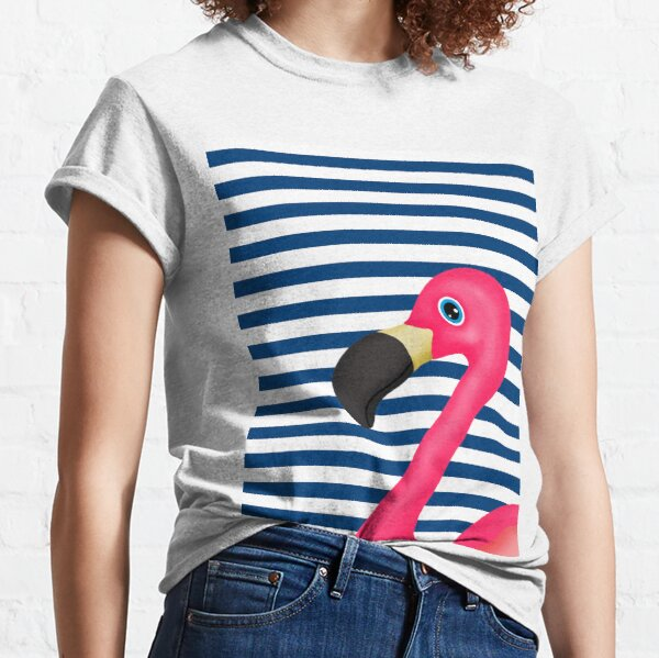 Pink Flamingo Blue White Stripes Classic T-Shirt