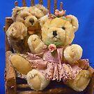 Teddy Girl and Teddy Boy Waving by Vivian Eagleson