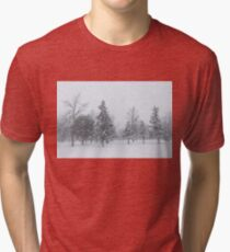 Snowstorm - Tall Trees and Whispering Snowflakes Tri-blend T-Shirt