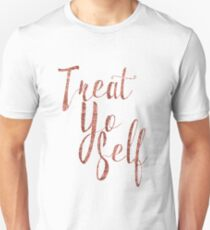 Treat Yo Self Rose Gold Glitter Print T-Shirt