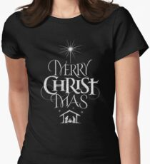 Merry Christmas Religious Christian Calligraphy Christ Mas Chalkboard Jesus Nativity Women's Fitted T-Shirt