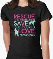 Rescue save love dog and cat Womens Fitted T-Shirt