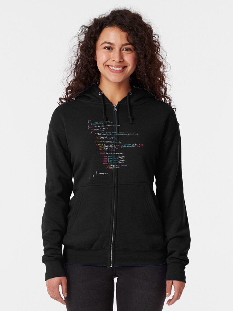 Alternate view of Is This The Real Life Coding Programming Color Zipped Hoodie