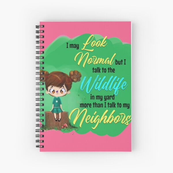 Cute Nature Loving Introvert Illustration and Graphic - Perfect for Wildlife Enthusiasts Spiral Notebook