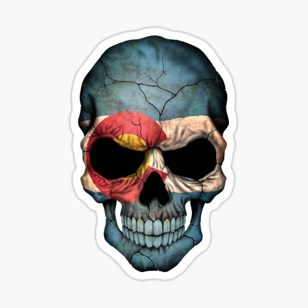 Colorado Flag Skull Sticker