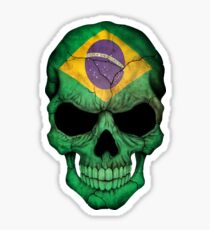 Brazilian Flag Skull Sticker