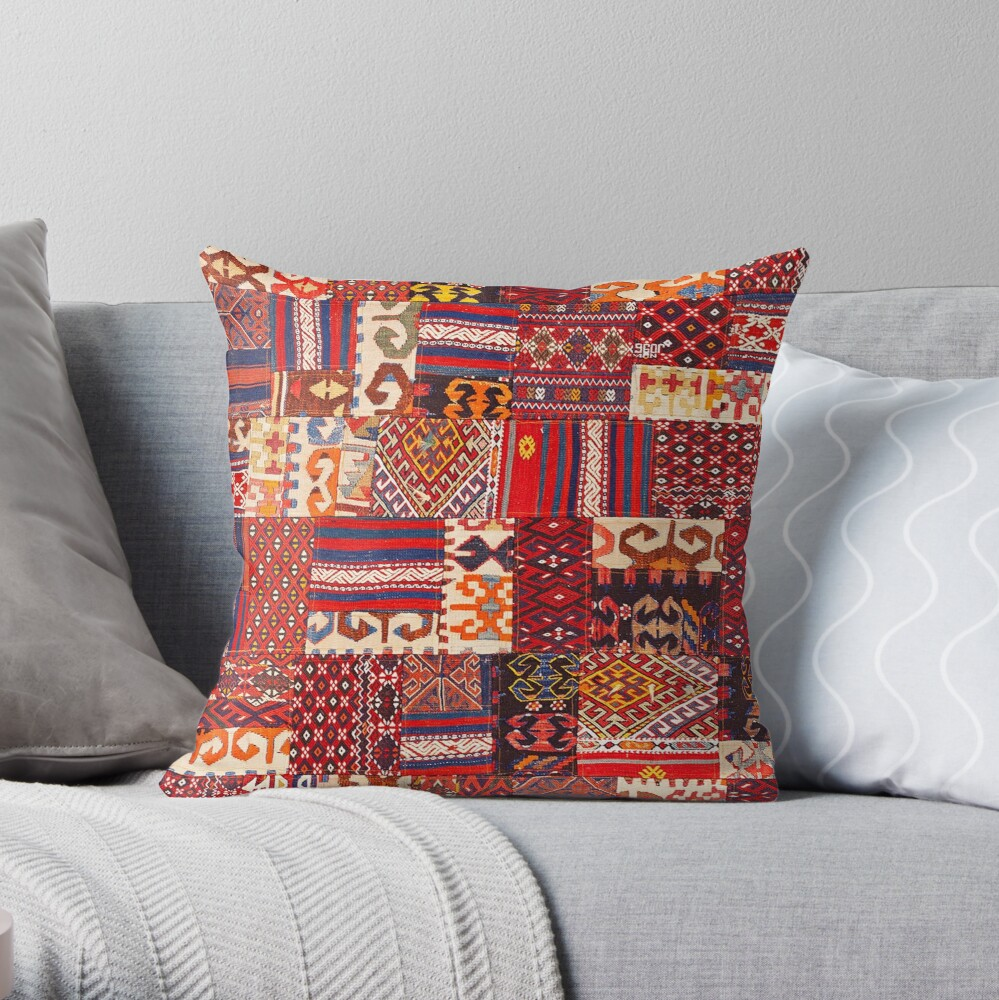 Traditional Retro Vintage Bohemian Collage Moroccan Style  Throw Pillow