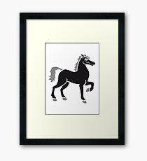 black cool riding horse stallion equestrian comic cartoon Framed Print