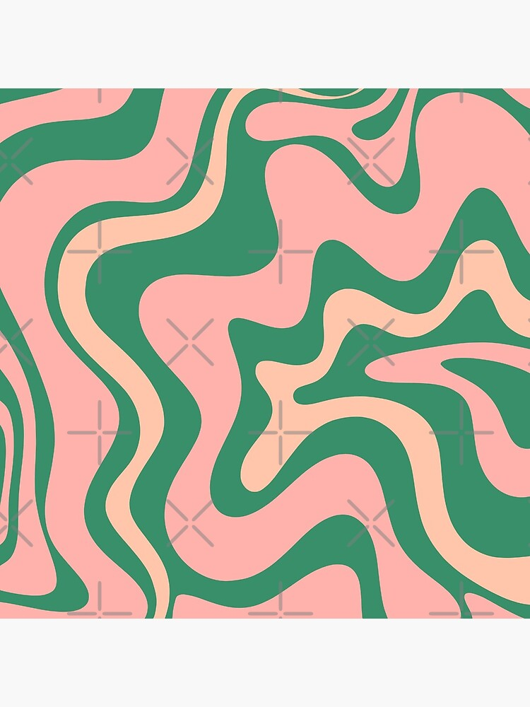 Liquid Swirl Contemporary Abstract Pattern in Blush Pink and Green by kierkegaard