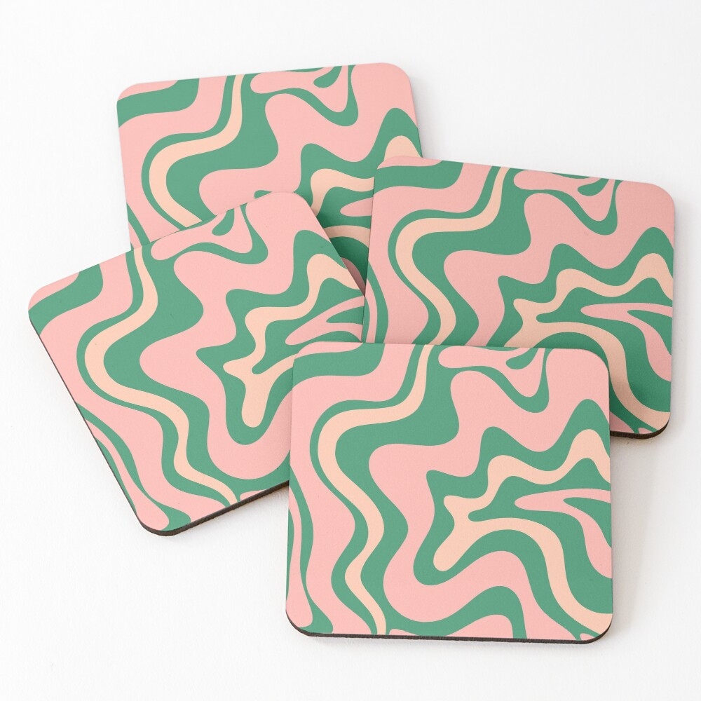 Liquid Swirl Contemporary Abstract Pattern in Blush Pink and Green Coasters (Set of 4)