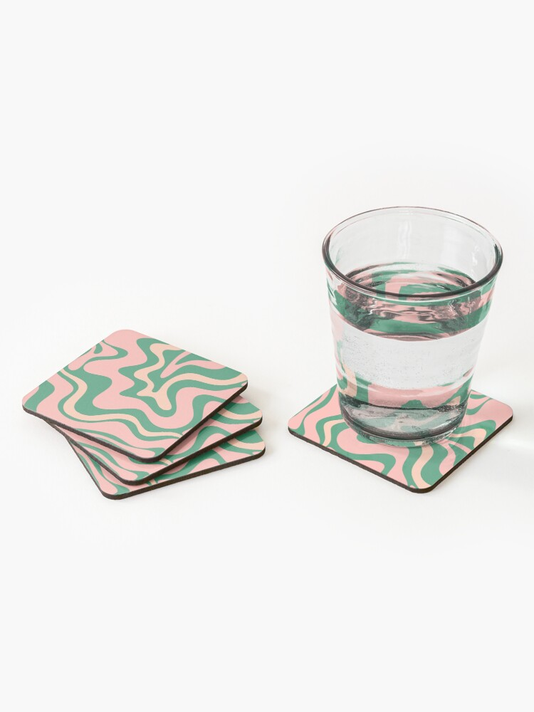 Alternate view of Liquid Swirl Contemporary Abstract Pattern in Blush Pink and Green Coasters (Set of 4)