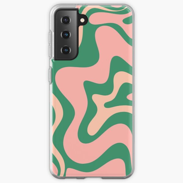 Liquid Swirl Contemporary Abstract Pattern in Blush Pink and Green Samsung Galaxy Soft Case