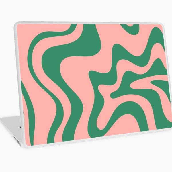 Liquid Swirl Contemporary Abstract Pattern in Pink and Green Laptop Skin