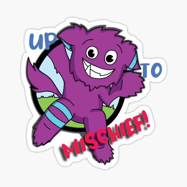 Up to Mischief Blue Text Sticker