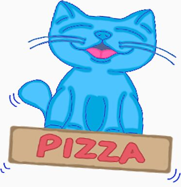 Milo Blue Cat Flying On Pizza Box Cartoon Stickers & Magnets