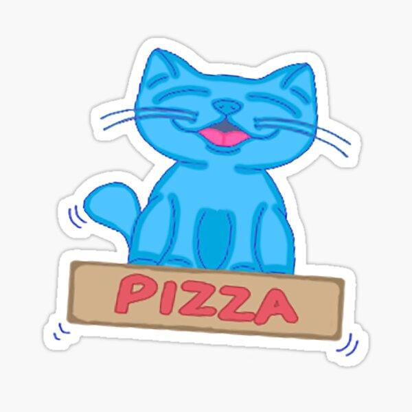 Milo Blue Cat Flying On Pizza Box Cartoon Sticker