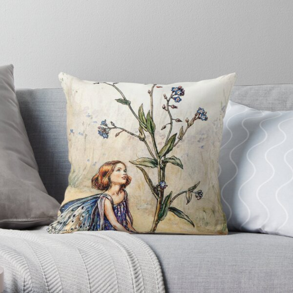 """""""The Forget-Me-Not Fairy"""" by Cicely Mary Barker 1920 Throw Pillow"""