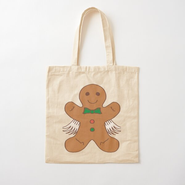 Gingerbread Man With Wings Cartoon Cotton Tote Bag