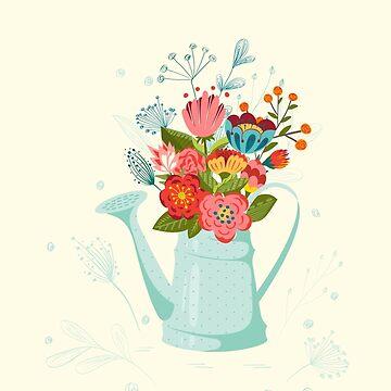 Flowers in  watering-pot. by Lidiebug