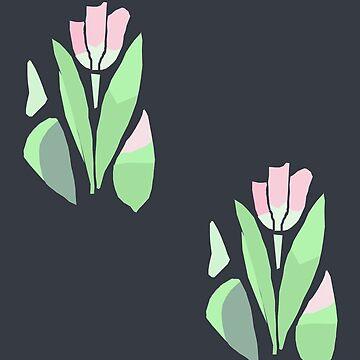 tulips on black by tatyanash