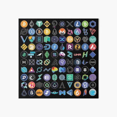 Crypto Logos 3D on Black Art Board Print