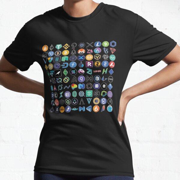 Crypto Logos 3D sur noir T-shirt respirant