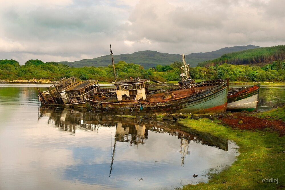 Abandoned  fishing boats by eddiej