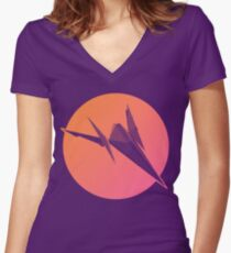 Sunset Arwing Women's Fitted V-Neck T-Shirt