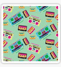 80's Music Boombox and Cassette tapes Sticker