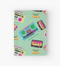 80's Music Boombox and Cassette tapes Hardcover Journal