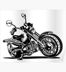 Cartoon Motorcycle Poster