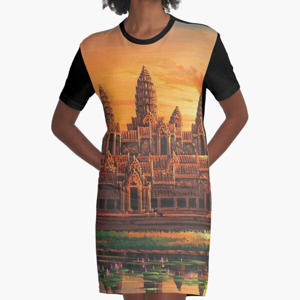 Angkor Wat Sunset Graphic T-Shirt Dress
