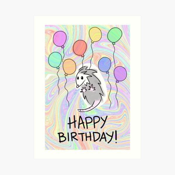 Happy Birthday Possum Card Art Print