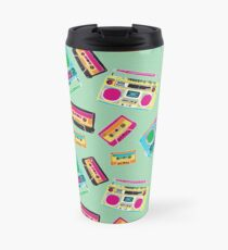 80's Music Boombox and Cassette tapes Travel Mug