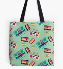 80's Music Boombox and Cassette tapes Tote Bag