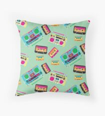 80's Music Boombox and Cassette tapes Throw Pillow