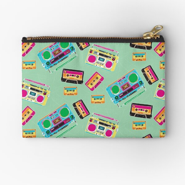 80's Music Boombox and Cassette tapes Zipper Pouch