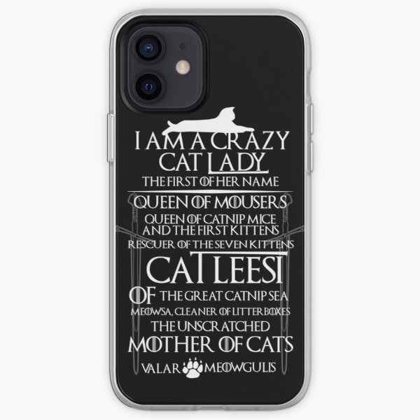 Catleesi- Mother of Cats- Blanc sur la version noire Coque souple iPhone