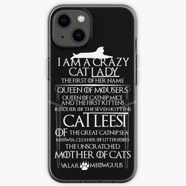 Catleesi- Madre de Gatos- Versión Blanco sobre Negro Funda blanda para iPhone